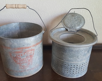 Vintage Falls City galvanized metal minnow bucket with wood handle
