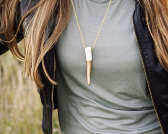 BEST SELLER••Gold Dipped Deer Antler Necklace
