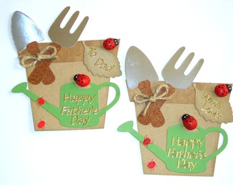 Fathers Day Card Toppers Gardening theme Plantpots Watering Can & Ladybugs ready made paper pieced Card Making Embellishments fathers day