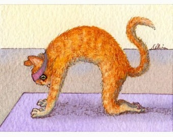 Ginger cat 8x10 print yoga pose cat pose headache reliever stretch back tabby cat fitness health from a Susan Alison watercolor painting