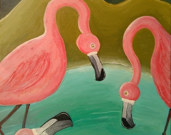 flamingos and a plastic bottle Giclee print A3