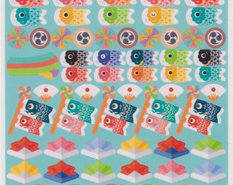 Koinobori Boys Day Stickers - Kawaii Japanese Stickers - Reference A5896-98