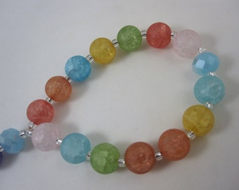 Festive Multi-Colored Frosted Glass Chaplet