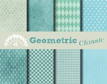 Paper digital geometric blue classic