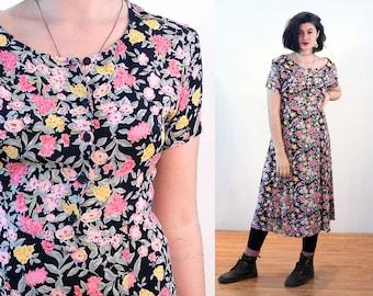 90s Floral Dress M, India Midi Bohemian Putumayo Black & Pink Flower Print Rayon Crepe Short Sleeve Boho Vintage, Medium