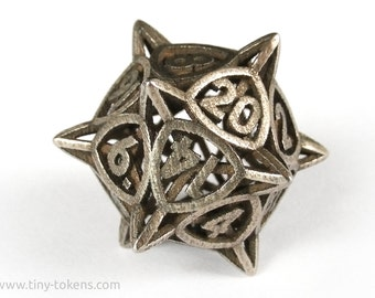D20 Gaming Die, Stainless Steel - 'Center Arc' Metal Balanced Dice