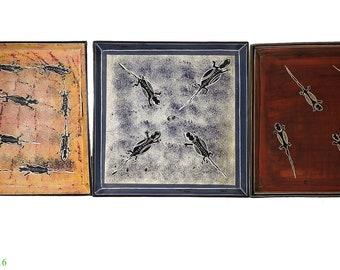 3 Stone Plates Kisii Lizards Square Kenya Africa 10 Inch 103299
