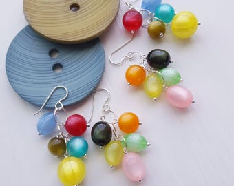 jellybeans earrings - asymmetrical earrings, vintage Lucite and sterling silver - moonglow bead - mismatched earrings