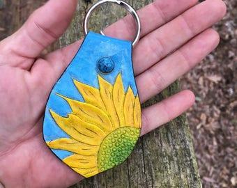 Bright and Sunshiney Sunflower leather keychain
