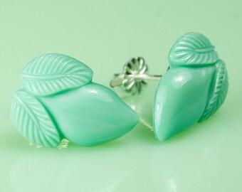 Vintage 1940's Jadeite Acorn Post Earrings