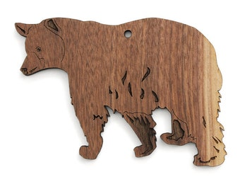 Black Bear Ornament  - Made in the USA with sustainably harvested wood! - Timber Green Woods.