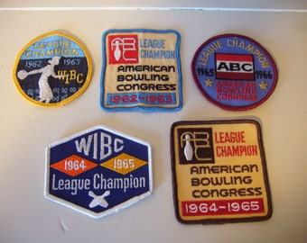 Vintage Bowling Patches - 1960's Bowling Patches - Lot of 5 Bowling Patches
