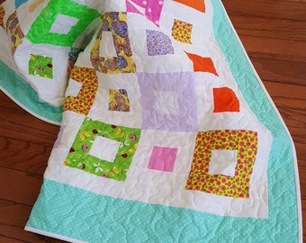 SALE Handmade Quilt, Throw, Lap Quilt, Baby Quilt, or Crib Quilt in Spring Colors Bordered in Aqua