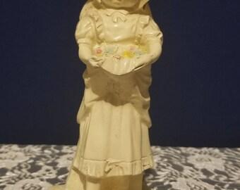 Resin Statuette - Girl Holding Flowers