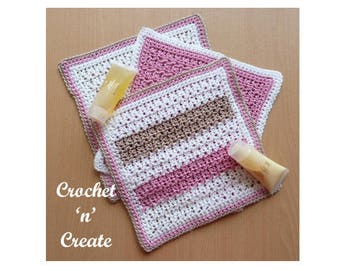 Bathroom Washcloth Crochet Pattern (DOWNLOAD) CNC37