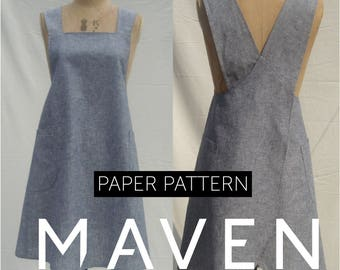 The Maria Wrap Apron sewing pattern, Japanese apron, PRINTED SEWING PATTERN, womens pattern, apron pattern, pattern, sewing pattern, apron