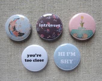 "Introvert 5 Pack 1"" pinback button badge set"