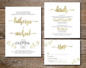 Printable Gold Wedding Invitation, RSVP & OPTIONAL Information card- Print Yourself-Digital File