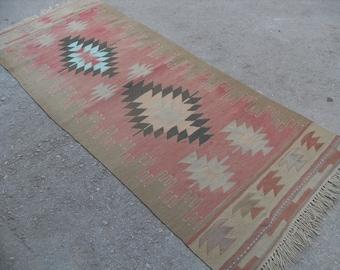 "Turkish Kilim rug, area rug, rug, vintage rug, bohemian rug, Turkish rug, rug, Soft color kilim, rug, SİZE = 34"" X 85"" ( 85 cm X 213 cm )"