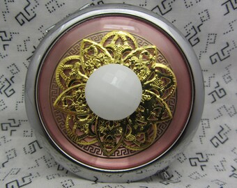 Compact mirror - cute gift for bridesmaids - pink and white color compact - handbag and purse small mirror - silver compact mirror