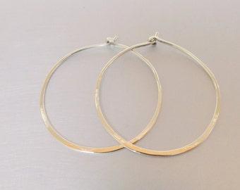 Big Hoop Sterling Silver 925 Earrings 35mm Thin Minimalist