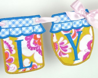 """Jelly and Jam Jar Banner In The Hoop Project Machine Embroidery Design Applique Patterns done ITH 2 variations in 4 sizes 4"""", 5"""", 6"""" , 7"""""""