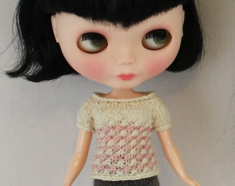 Blythe doll Hannah Sweater knitting PATTERN - cap sleeve star empire 2 color sweater - instant download - permission to sell finished items