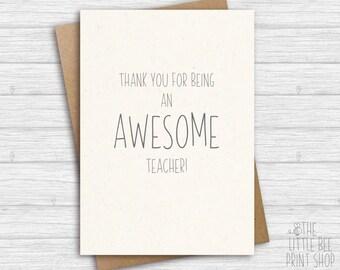 Teacher card, Thank you card for teacher, Thank you for being an awesome teacher! Awesome teacher card