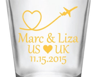 108-Personalized 1.75oz Shot Glasses Wedding Favors  Airplane Heart Love Travels Long Distance Relationship Destination Wedding