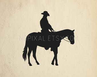 SVG - DXF Cowboy With Horse Silhouette Stencils Vector Arts for Prints, Cricut, Cameo, Cut Files
