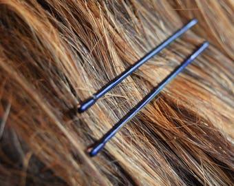 Decorative navy blue bobby pins, navy blue wedding hair pins, dark blue colored bobby pins, navy wedding hair pins, colorful bobby pins