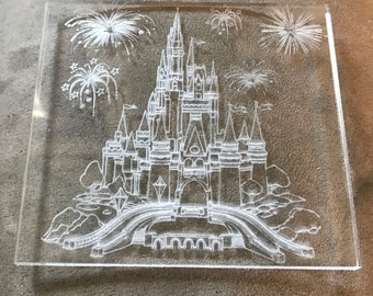 Set of 4 Acrylic Coasters - Disney's Magic Kingdom / Cinderella's Castle Inspired
