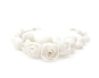 Statement  Bracelet EL PASO , Floral Design Sterling Silver Bracelet with Porcelain Peony Flowers , Wedding Flower Corsage Bracelet , B