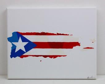 Puerto Rico Painting, Original Painting, Puerto Rico, Puerto Rican Art, Puerto Rico Flag, Puerto Rico Map, Travel Gift, Map Wall Art, Travel