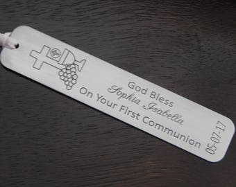 First Communion Bookmark, Engraved Aluminum, Personalized Bookmark, Religious Bookmark, Gift for Him or Her, First Communion Gift