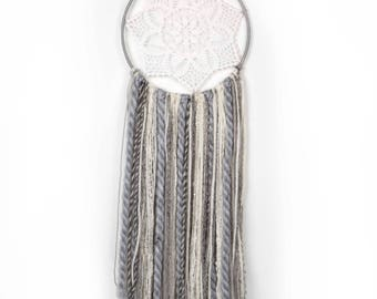Grey, White and Silver Handwoven Dreamcatcher.