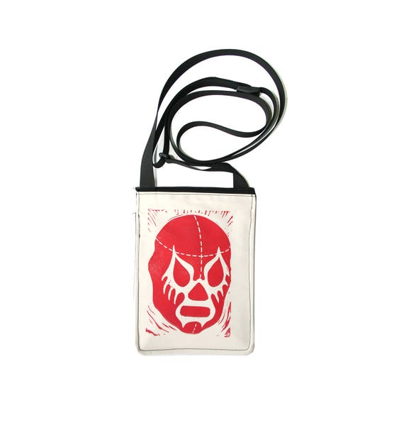 SALE!! luchador, lucha libre, block print, small cross body, vegan leather, zipper top, passport bag
