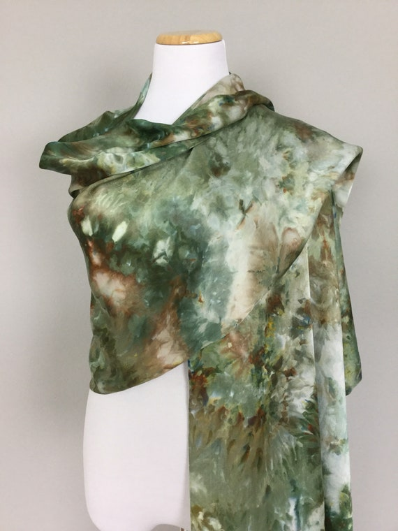 """NEW SIZE 100% Silk WRAP Ice Dyed in Beautiful Browns & Greens Earth Tones Artistic Watercolor 22""""x90"""" Elegant Rectangle Wrap Oblong #223"""