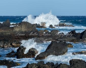 Big Island, Hawaii, Photo,Pacific Ocean, Coast, Waves, Lava, Fine Art Print, Canvas,Metal Art, Wall Art, Nature Photography, Wall Decor