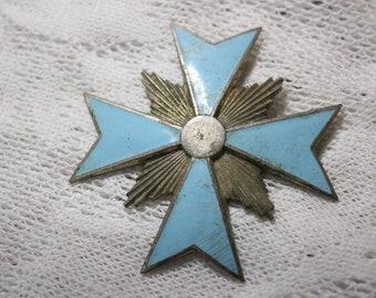 Vintage Turquoise Enamel and Metal Cross Brooch