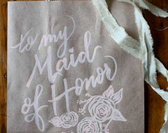 Kraft gift bag with peach brush lettering | Custom calligraphy | Wedding party | Thank you gift