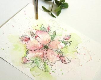 original watercolor art apple blossom, original flower painting, spring flower painting, original art, botanical watercolor