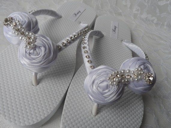 Bridesmaids Flowers Wedding Bridesmaids White Flops shoes Flops Rolled Shoes Sandals Bridal Flip Flip Wedding Flops Bridal Flip vZqOII