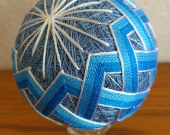 Japanese Temari Ball, decorative ball in blues and silver