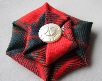 Fraser Red Tartan Brooch with vintage painted glass button