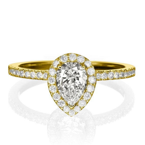 1 Carat Pear Shaped Engagement Ring Pear Diamond Ring Pear