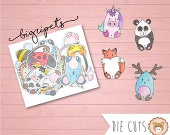 """Die cuts animaux """"BiGri'Pets"""" - découpes - embellissements"""