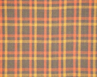 Brown Plaid Homespun Material | Plaid Material | Cotton Material | Rag Quilt Material | Craft Material | Doll Making Material | 1 Yard