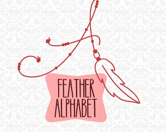 Feather Dreamcatcher Boho Inspired Alphabet SVG STUDIO Ai EPS Scalable Vector Instant Download Commercial Use Cricut SIlhouette