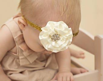 Gold Glitter Baby Bow - Gold Baby Headband -  Gold Baby Photo Prop - Baby Hairbows - Newborn Headband - Infant Headband - Baby Shower Gift